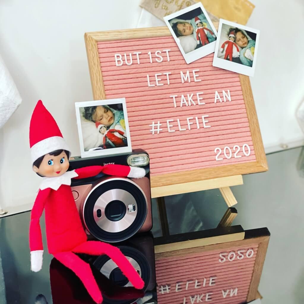 elf on the shelf taking an elfie