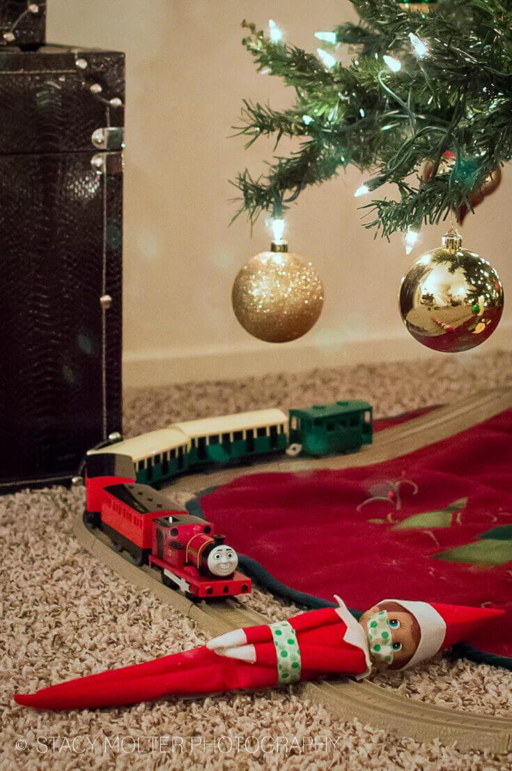 elf on the shelf train track michief