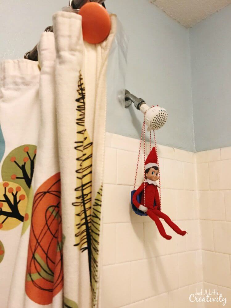elf on the shelf in the shower