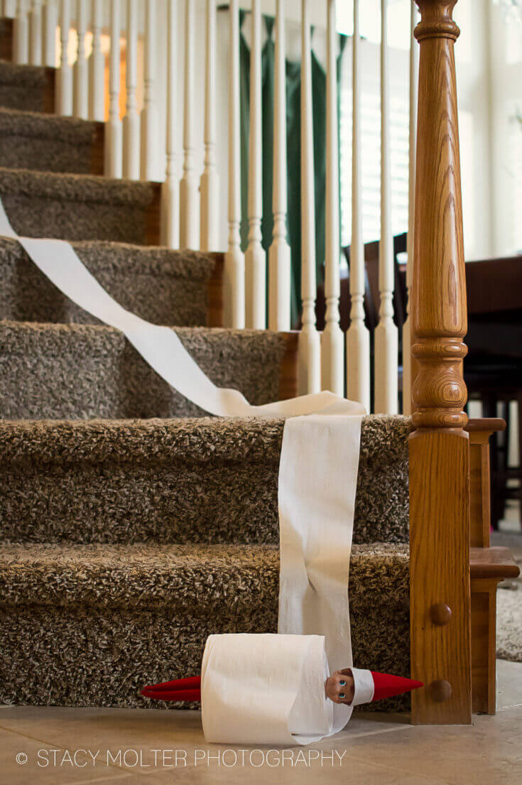 elf on the shelf rolling down stairs