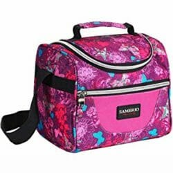 Image of Samerio purple patterned insulated lunch bag for teenagers